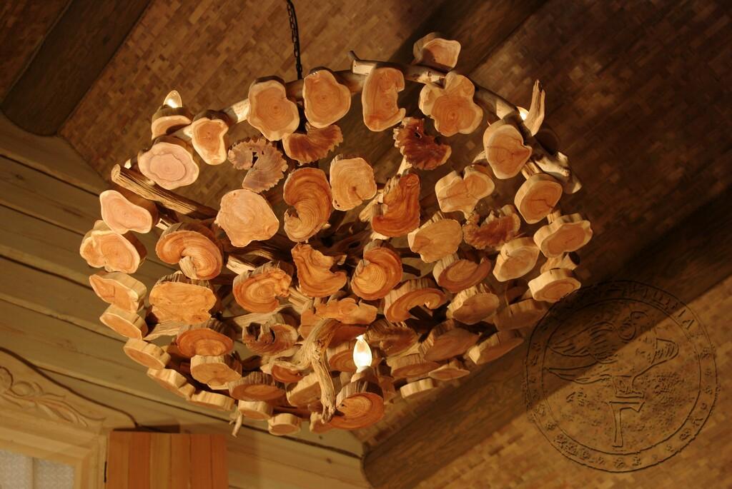 Светильник в баню деревянный фото